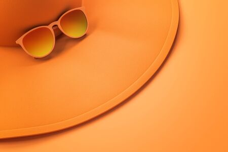 Close up of bright orange beach hat and sunglasses on surface. Holiday, vacation and accessory concept. 3D Rendering