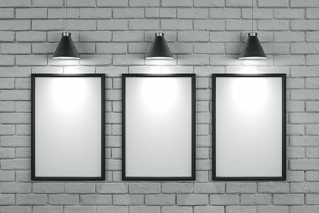 Empty brick wall with empty poster and lamps. Gallery concept. Mock up, 3D Rendering Stock Photo