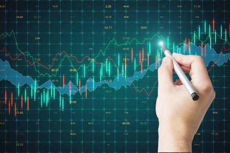 Trade and invest concept. Hand drawing creative forex chart background