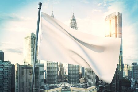 Empty waving white flag on bright blue sky and city background. Mock up, 3D Rendering