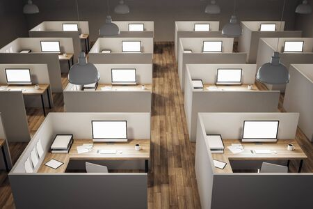 Minimalistic coworking office interior with furniture and wooden floor. 3D Rendering