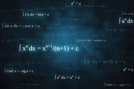 Abstract glowing mathematical formulas wallpaper with equations. Math, algorithm and complex concept. 3D Rendering
