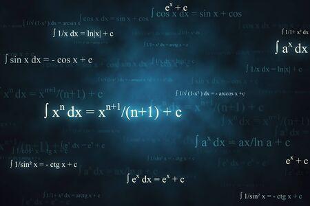 Carta da parati astratta di formule matematiche incandescente con equazioni. Matematica, algoritmo e concetto complesso. Rendering 3D Archivio Fotografico