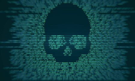 Abstract skull shape binary code on blurry background. Virus attack and criminal concept. 3D Rendering