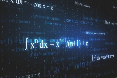 Creative glowing mathematical formulas wallpaper with equations. Math, algorithm and complex concept. 3D Rendering Archivio Fotografico