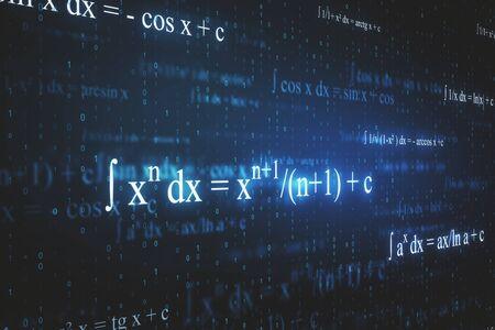 Kreative leuchtende mathematische Formeltapete mit Gleichungen. Mathematik, Algorithmus und komplexes Konzept. 3D-Rendering