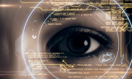 Close up of eye with digital business hud interface. Face ID and recognition concept. Multiexposure