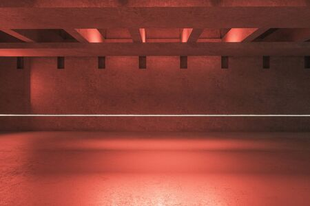 Luxury red warehouse garage with copy space. 3D Rendering