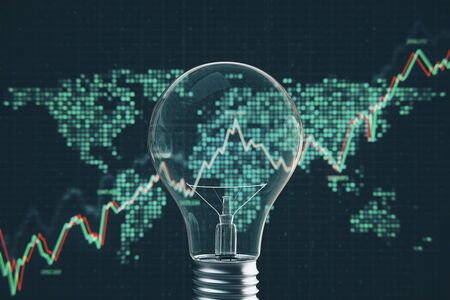 Glowing light bulb and map with blurry forex chart on grid background. Idea, innovation and global concept. 3D Rendering 免版税图像