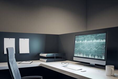 Modern office workplace with forex chart on computer screen, coffee cup and supplies on desktop. Mock up, 3D Rendering
