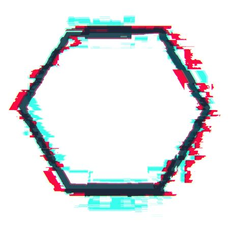 Creative hexagon glitch banner on white background. Mock up, 3D Rendering