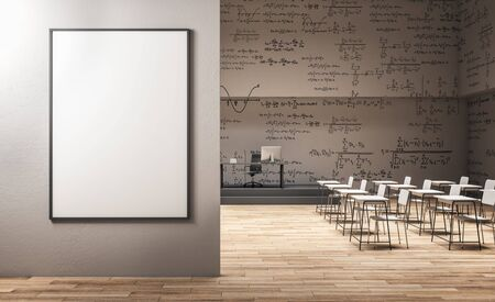 Modern classroom interior with empty billboard frame on wall, furniture and mathematical formulas on wall. Math and complex algorithm concept. Mock up,  3D Rendering