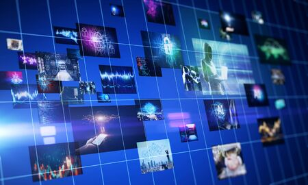 Abstract digital picture gallery on blurry background. Social media and network concept. 3D Rendering Stock Photo