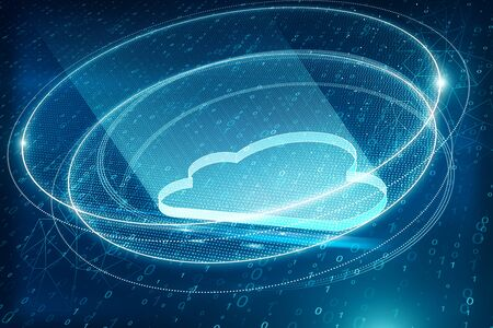 Creative blue cloud on blurry binary code background. Cloud computing and storage concept. 3D Rendering