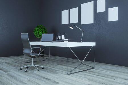 Lugar de trabajo moderno en interior con carteles y árboles decorativos. Representación 3D