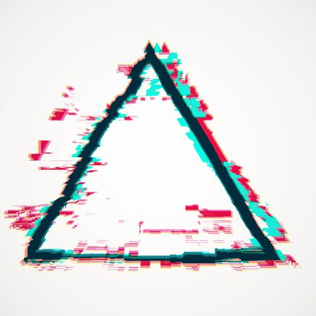 Creative triangle glitch banner on white background. Mock up, 3D Rendering