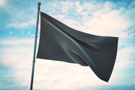 Empty waving black flag on bright blue sky background. Mock up, 3D Rendering