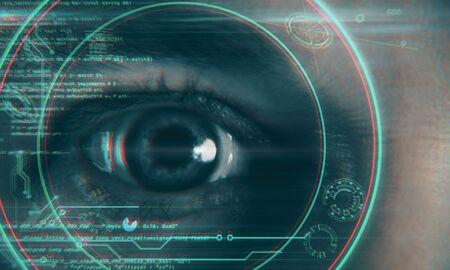Close up of eye with digital business hud interface. Face ID and technology concept. Multiexposure