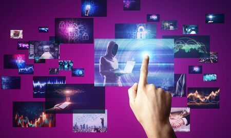 Hand pointing at abstract digital picture gallery on blurry background. Social media and cloud computing concept. 3D Rendering