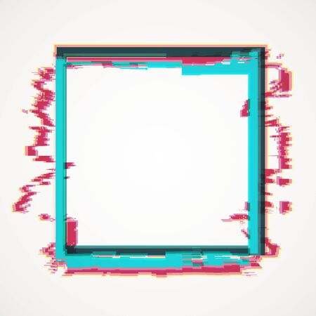 Abstract square glitch banner on white background. Mock up, 3D Rendering Stock Photo