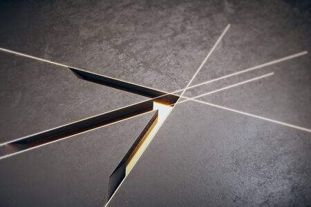 Creative arrow on concrete grid background. Finance and direction concept. 3D Rendering 스톡 콘텐츠