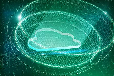 Creative green cloud on blurry binary code background. Cloud computing and storage concept. 3D Rendering