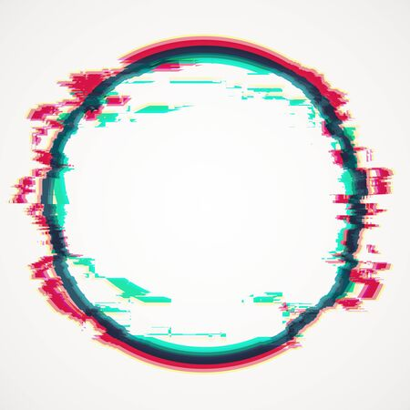 Creative circle glitch banner on white background. Mock up, 3D Rendering