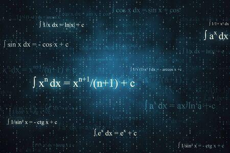 Kreativer leuchtender mathematischer Formelhintergrund mit Gleichungen. Mathematik, Algorithmus und komplexes Konzept. 3D-Rendering