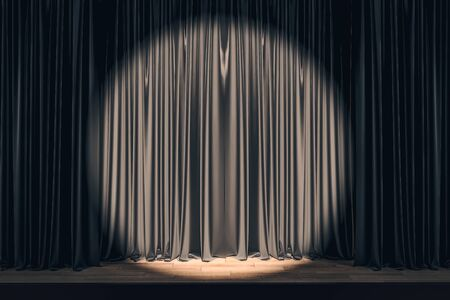 Black stage with spot light on clear drawn curtains. Show concept. Mock up, 3D Rendering Stock Photo