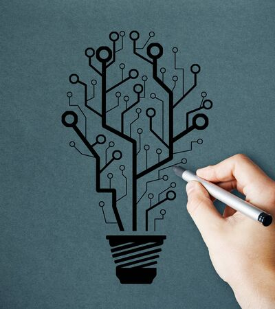 Creative hand drawn circuit light bulb tree sketch on subtle background. Idea, innovation and solution concept 스톡 콘텐츠