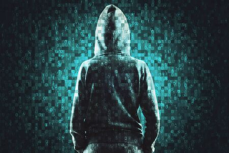 Fondo de hacker de píxeles. Programación y concepto de ia. Multiexposición