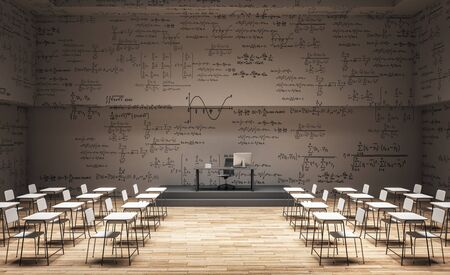 Light classroom interior with furniture and mathematical formulas on wall. Math and complex algorithm concept. 3D Rendering