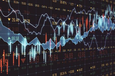 Glowing forex chart on blurry backdrop. Trade and stats concept. 3D Rendering