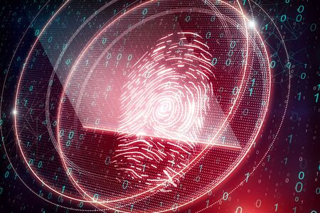 Glowing red thumb print on blurry binary code background. Access, password and scanning concept. 3D Rendering Standard-Bild - 126045346