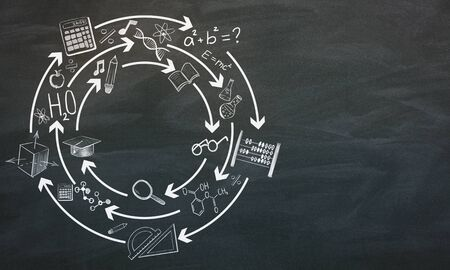 Creative hand drawn education sketch on chalkboard background. Knowledge and school concept. 3D Rendering