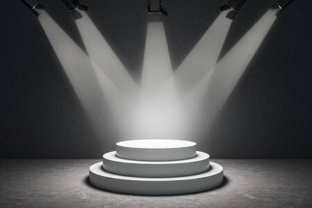 Abstract illuminated podium with copy space on concrete background. Leadership and presentation concept. 3D Rendering
