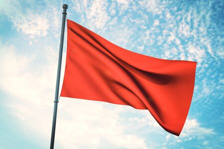 Empty waving red flag on bright blue sky background. Mock up, 3D Rendering Banco de Imagens