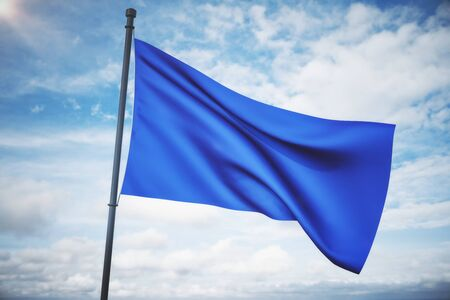 Empty waving blue flag on bright blue sky background. Mock up, 3D Rendering