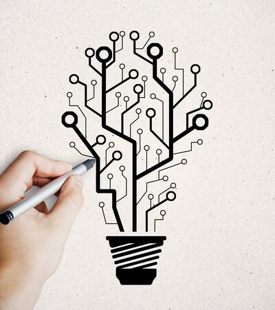 Abstract hand drawn circuit light bulb tree sketch on subtle background. Idea, innovation and growth concept 版權商用圖片