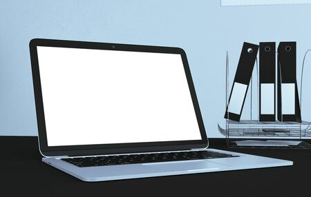 Close up of creative designer desktop with blank white laptop and supplies. Mock up, 3D Rendering Stock Photo