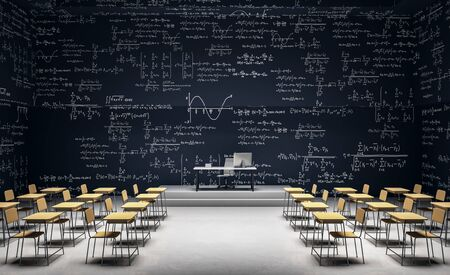 Modern classroom interior with furniture and mathematical formulas on wall. Math and complex algorithm concept. 3D Rendering