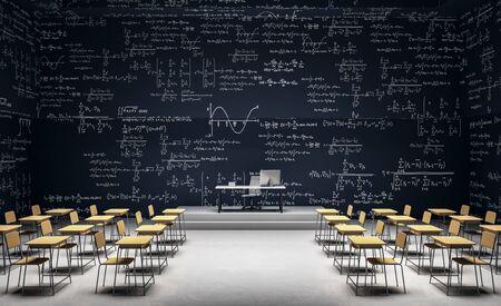 Modernes Klassenzimmer-Interieur mit Möbeln und mathematischen Formeln an der Wand. Mathe und komplexes Algorithmuskonzept. 3D-Rendering
