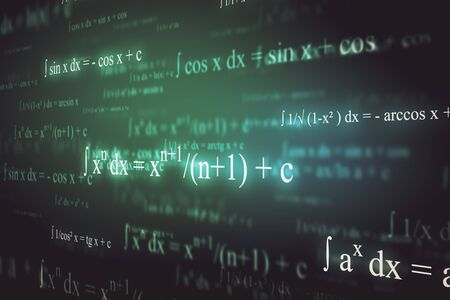 Abstract glowing mathematical formulas background with equations. Math, algorithm and complex concept. 3D Rendering