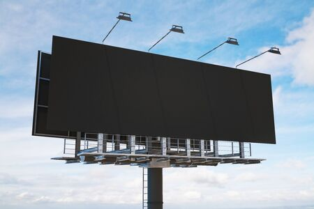 Empty black billboard on city sky background. Commercial and advertising industry concept. Mock up, 3D Rendering Stock Photo