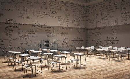 Brown classroom interior with furniture and mathematical formulas on wall. Math and complex algorithm concept. 3D Rendering
