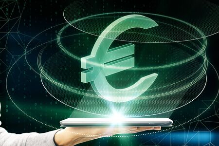 Hand holding smartphone with creative glowing green euro sign icon on dark background. Money, technology, e-commerce and cryptocurrency concept. Multiexposure