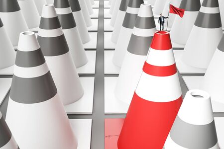 Businessman with victory flag standing on red and white traffic cone. Success and growth concept. 3D Rendering