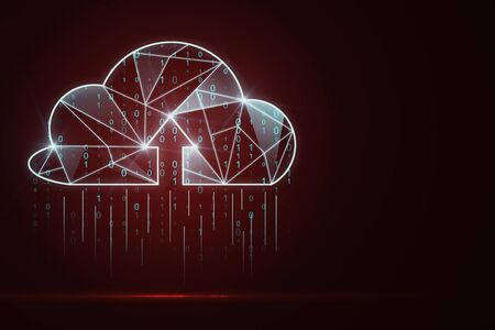 Creative glowing red polygonal binary code cloud raining on dark background. Cloud computing and storage concept. 3D Rendering