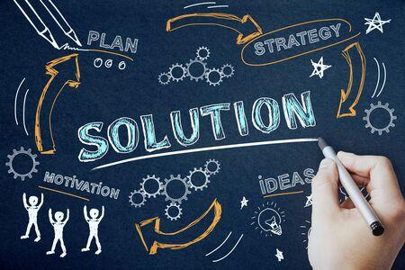 Success, plan and marketing concept. Creative hand drawn business sketch on chalkboard background 版權商用圖片