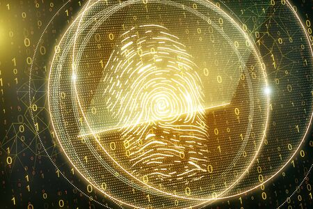 Glowing golden thumb print on blurry binary code background. Access, password and scanning concept. 3D Rendering